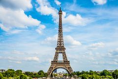Eiffel tower in Paris France. A landscape from Paris, France, with the Eiffel tower against the blue sky Stock Photo