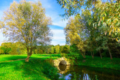 Landscape of Park with Arch over Pond. And Green Grass at Sunny Day Royalty Free Stock Image