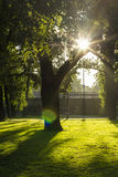 Landscape park on the bank of the river Daugava in Riga Stock Images