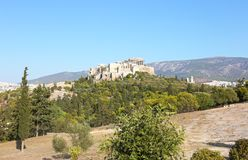 Landscape of Parthenon Acropolis in Athens Greece. Landscape of Parthenon Acropolis as seen from Thissio Athens Greece Stock Photography