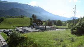 The landscape passing by the train stock video footage