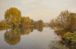 Landscape in pastel shades with Vorskla river at autumnal season in Sumskaya oblast, Ukraine Royalty Free Stock Image