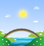 Landscape pastoral. Landscape - sun, blue sky, river, bridge and lambs Stock Images