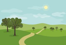 Landscape with path across summer green hills and meadows with t. Rees, cartoon  illustration Royalty Free Stock Photo