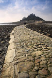 Landscape of Path revealed at low tide to St Michael's Mount Royalty Free Stock Photos