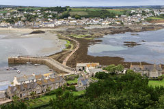 Landscape of Path revealed at low tide to St Michael's Mount from Marazion Cornwall England Stock Photos