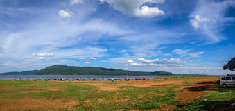 Landscape Pattaya 2. Landscape of tourism location dam with mountain and bluesky, Pattaya 2, Khonkaen Royalty Free Stock Images