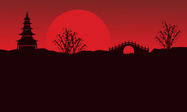 Landscape of pavilion and bridge silhouettes. Vector art Stock Photography