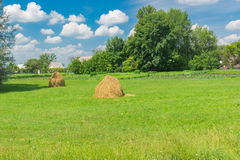 Landscape with peasant houses near meadow in central Ukraine Royalty Free Stock Photography