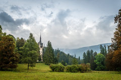 Landscape and Peles castle, Sinaia, Transylvania, Romania Royalty Free Stock Photo