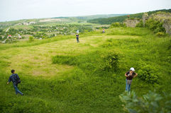 Landscape with people Royalty Free Stock Photo