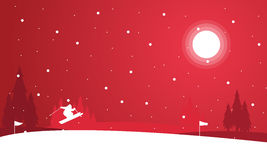 Landscape of people skiing at night winter vector illustration