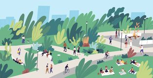 Landscape with people walking, playing, riding bicycle at city park. Urban recreation area with men and women performing stock illustration
