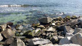 Landscape. Perfect sea with granite rocks stock images