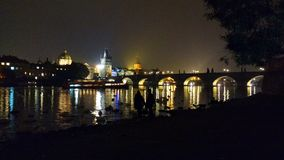 Landscape. Perfect view from Prague at night royalty free stock images