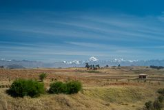 Landscape in the Peruvian Andes with an Impressive Snow Covered Mountain Range stock images