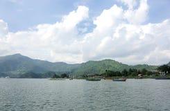 Landscape of Phewa Lake of Pokhara Stock Photos