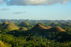 Landscape in Philippines, sunset over the chocolate hills on Bohol Island. Sunset over the chocolate hills on Bohol Island Royalty Free Stock Images