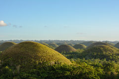 Landscape in Philippines, sunset over the chocolate hills on Bohol Island. Sunset over the chocolate hills on Bohol Island Stock Photography