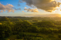 Landscape in Philippines, the sunset over the fields on Island Bohol. Landscape in Philippines, the sunset over the fields Stock Photo