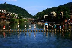 Landscape of Phoenix Ancient Town. `Fenghuang` is Chinese for `Phoenix`, the mythical bird of good omen and longevity that is consumed by fire to be re-born Stock Images