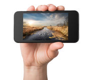 Landscape in a phone Stock Photo