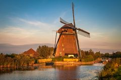 Traditional dutch windmill in autumn time. royalty free stock photo