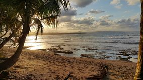 Landscape Photo of Beach Under Partly Cloudy Skies Stock Photo
