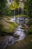 The landscape photo, beautiful rainforest waterfall in deep forest at Phu Kradueng National Park Stock Photo