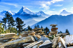Sunrise view from Poon hill stock photo