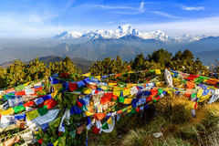 Prayer flag at Poon hill in Nepal. Landscape photo of beautiful sunrise and prayer flags on Poon hill in nepal stock image