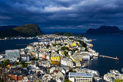 A landscape photo of the city of Alesund in Norway. Picture taken September 2016. A high angle landscape photo of the city of Alesund in Norway. Picture taken Stock Photography