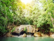 Landscape photo, Erawan Waterfall, beautiful famous waterfall. In rain forest at Kanchanaburi province, Thailand Stock Images