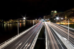 Landscape photo of expressway. Landscape photo of brisbane city expressway by night royalty free stock photography