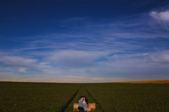 Landscape Photo of a Field and a Couple on the Middle Stock Image