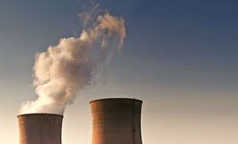 Landscape photo of giant power supply chimneys Stock Photography