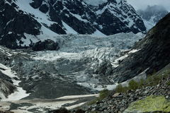 Landscape photo of the glacier in the mountains of Georgia stock photos