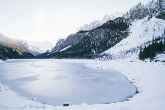 Landscape Photo of Lake Surrounded With Snow Royalty Free Stock Image