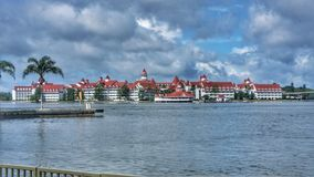 Grand Floridian Disney Orlando Florida. Landscape photo of resort property taken from across a lagoon Stock Image