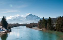 Landscape Photo of Snow Mountain and River Stock Photo
