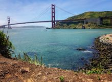 View of San Francisco`s Golden Gate Bridge, taken from Sausalito, California. Landscape, photo, taken from Discovery Bay, Sausalito, California, of San Francisco Royalty Free Stock Photo