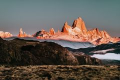 The Iconic Mount FitzRoy at Sunrise In Patagonia Argentina royalty free stock photo