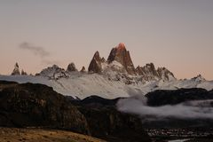 The Iconic Mount FitzRoy at Sunrise In Patagonia Argentina royalty free stock images