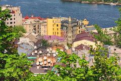 Landscape photograph of Kyiv's many rooftops with satellite dishes. Royalty Free Stock Image