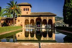 Alhambra Granada Spain. Beautiful historic palace, is the most visited place in Spain by tourists. stock photos