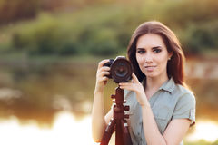 Landscape Photographer with Camera on a Tripod Royalty Free Stock Photos
