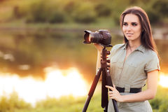 Landscape Photographer with Camera on a Tripod Stock Image