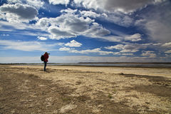 Landscape photographer makes sea shoots on the  beach Royalty Free Stock Image