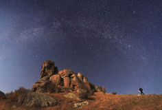 Landscape photographer to shoot the mountains and amazing starry. Sky Royalty Free Stock Photos