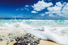 Landscape Photography of Beach With Raging Waves Under Clear Skies Royalty Free Stock Image